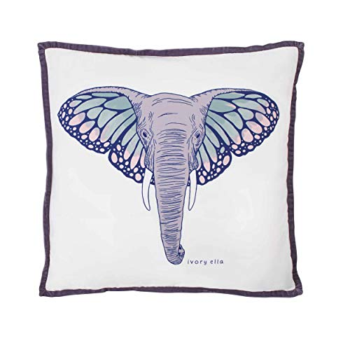 - Ivory Ella Throw Pillow, 18 x 18, Monarch