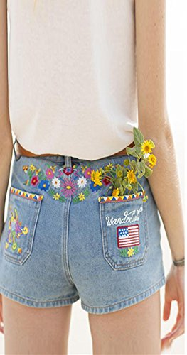 Beautisun Loose Shorts Blue Shorts Big Ladies Shorts lastique Rtro Haute Casual Bleu Denim Light Hot Bohemian Irrguliers 2 Pants Denim Taille PpPawrqUx