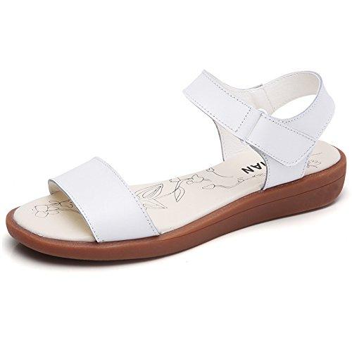 Sandales Mocassins Mai Velcro Y Et Plat Tout Femmes Match D'été Simples Blanc qRxw0