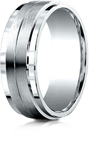 Benchmark 10k White Gold 8mm Comfort-Fit Drop Bevel Satin Center Design Band, Size (8 Mm Designer Center)