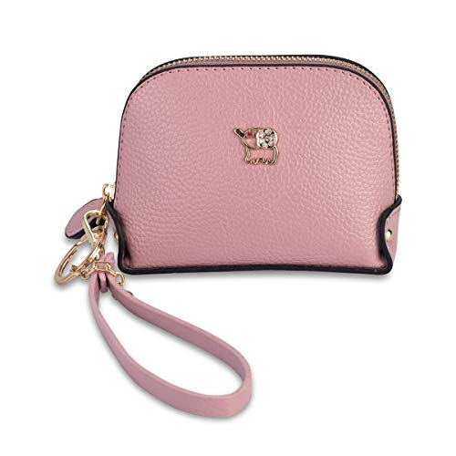 Coin Purse Wallet leather Wristlet Handbags with Wrist Strap Cute Mini Designer Pouch Great Gifts for Women Girls(Elephant Pink) by JZE (Image #8)