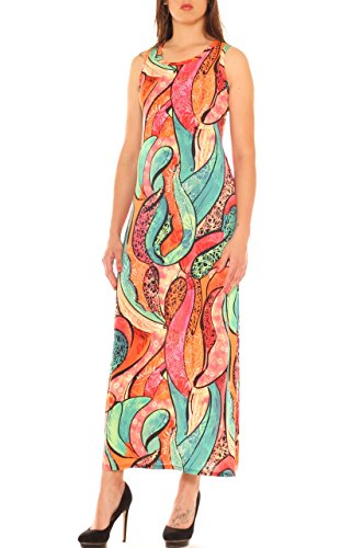 In Arancione Fantasia Donna Etnica Jersey Stretch Lungo Vestito X0q4EE