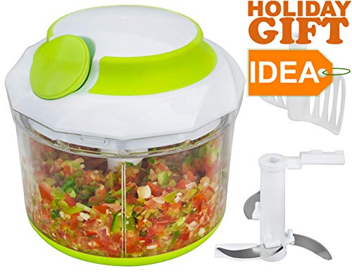 Brieftons QuickPull Food Chopper: Large 4-Cup Powerful Manual Hand Held Chopper/Mincer / Mixer/Blender to Chop Fruits, Vegetables, Nuts, Herbs, Onions for Salsa, Salad, Pesto, Coleslaw, - Chop Chop Vegetable Chopper