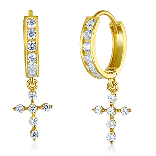 Wellingsale Ladies 14k Yellow Gold Polished Fancy Huggies Dangle Hanging Drop Cross Earrings (7 X 30mm)