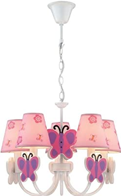 Lite Source IK-1003 Chandelier with Pink Butterfly Fabric Shades, White Finish
