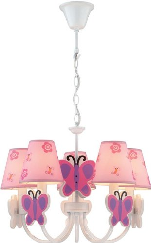 Lite Source IK-1003 Chandelier with Pink Butterfly Fabric Shades, White Finish For Sale
