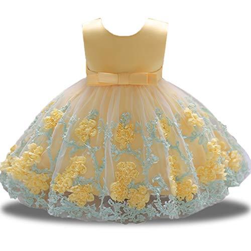 - XIPAI Pageant Dresses for Girls Round Neck Sash Satin Cute Elegant Summer Sun Dress for Wedding Bridesmaid 6-12 Months Yellow
