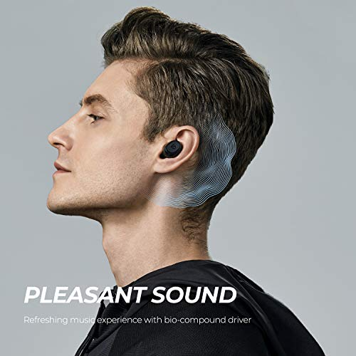 SoundPEATS Wireless Earbuds TrueFree2 Bluetooth 5.0 Headphones in-Ear Stereo TWS Sports Earbuds, IPX7 Waterproof, Customized Ear Fins, USB-C Charge, Monaural/Binaural Calls, 20 Hours Playtime
