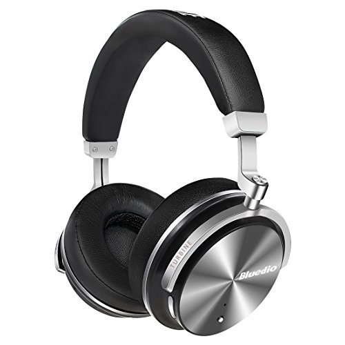 Bluedio T4S Active Noise Cancelling Bluetooth Headphones Over Ear with Mic, 57mm Driver Swiveling Wireless Headset, Wired and Wireless Headphones for Cell Phone/TV/ PC Gift (Black) by Bluedio