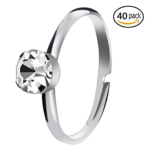 Bridal Shower Rings Silver Diamond Rings for Party Supply Table Decorations Favor Accents-40 Pack
