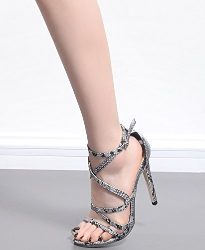 ZHZNVX Snakeskin calzature sandali alti Sexy Romano snakeskin 39 tacchi rP4wrqpxn