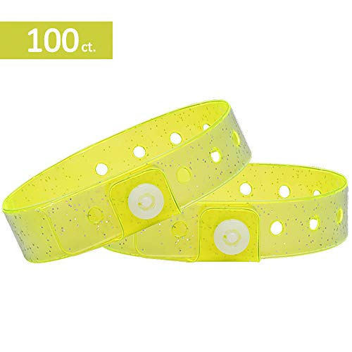 Ouchan Plastic Wristbands Neon Yellow with Glitter - 100 Pack Wristbands for Events -