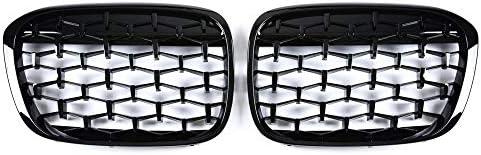 フォグライトグリル フィット感のためのBMW X1のF48のF49 2016年から2019年のダイヤモンドグリル流星スタイルフロントバンパーグリルカースタイリング自動車部品 フォグライトフレーム (Color : All black)
