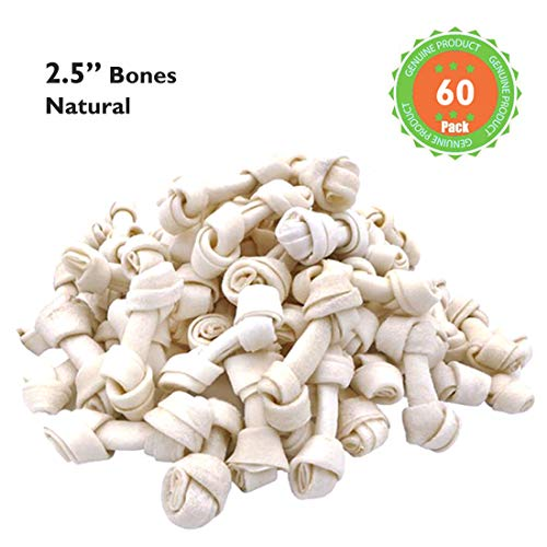 (MON2SUN Dog Rawhide Knot Bones Natural 2.5 Inch 60 Count for Puppy and Small Dogs)