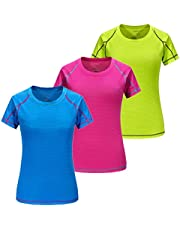 3 Pack Women's Dry Fit Tshirt Short Sleeve Moisture Wicking Athletic Shirts Sport Active wear Tee Round Neck Workout Top