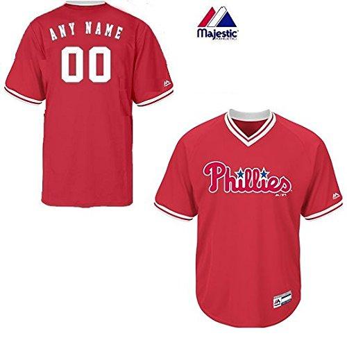 (Youth Small Philadelphia Phillies CUSTOM (Any Name/# on Back) Major League Baseball Cool-Base V-Neck Jersey)
