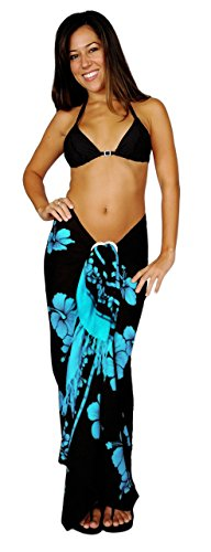 1 World Sarongs Womens Hibiscus Flower Cover-Up Sarong in Aqua Blue/Black