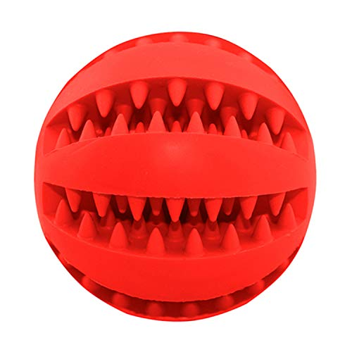 PETFDH Funny Pet Dog Chew Toys Nontoxic Bite Resistant Toy Ball for Pet Dogs Puppy Dog Food Treat Feeder Tooth Cleaning Ball Chihuahua Red S - Dia 5.0 cm