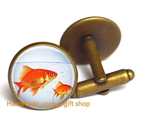 Fashion Cufflink,Fish Cufflink, Goldfish Bowl, Fish Jewelry, Fish Tank, Aquarium, Fish Bowl Art - For To How Choose Glasses Men
