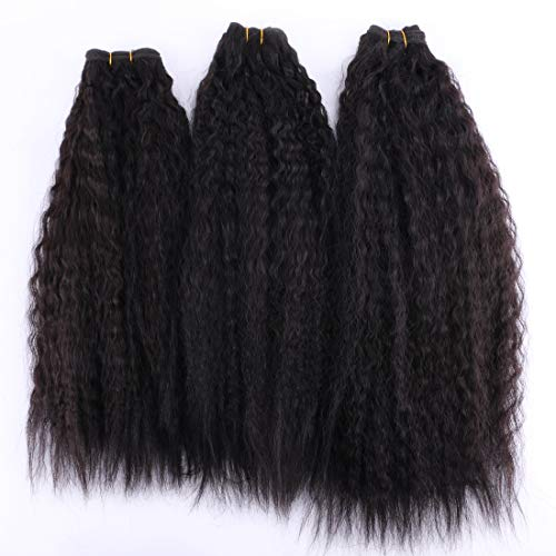 (3 Pieces Kinky Straight Synthetic Hair Weave Bundles Extensions 16 18 20 Inches Color 2# )