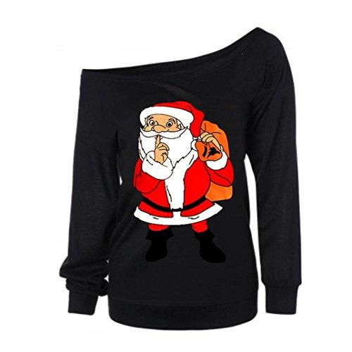 estampado con en Zarupeng cuello con manga Sudadera Negro larga V 1 de navideño mujer Ew58wx4trq