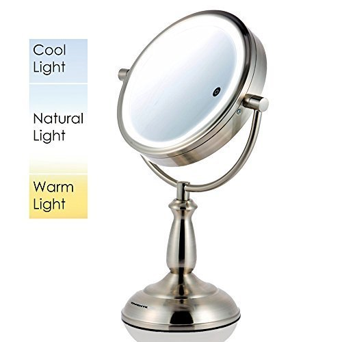 Ovente Dual-Sided LED Lighted Makeup Mirror with Timer, 8.5 Inch, Battery or Cord Operated, SmartTouch with 3 Light Tones (Cool, Warm, Natural), 1x/10x Magnification, Nickel Brushed (MPT85BR1x10x) B01N7PKPLP   -