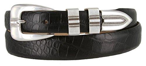 Vincent Silver Genuine Italian Calfskin Leather Designer Dress Belt for Men(Alligator Black, 40)