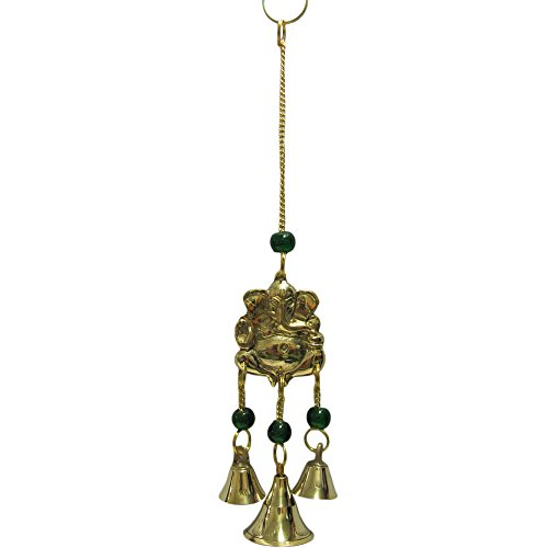 """9"""" Brass Ganesh Yoga Good Luck 3 Bell Home and Garden Wall Hanging Wind Chime /w Glass Beads"""