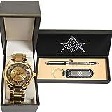 (Set) Freemason Gold Tone Wrist Watch And Masonic