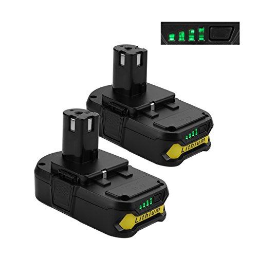 Energup 2 Pack 2000Mah Ryobi 18V Lithium Battery Replacement For Ryobi P104 P105 P102 P103 P107 P108 Tools Battery