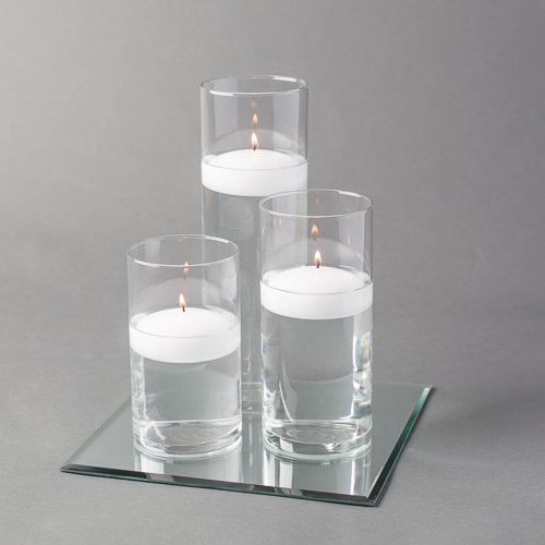Eastland Square Mirror and Cylinder Vases Centerpiece with Richland Floating Candles 3''. 48 Piece Set (10'' Mirror, White)