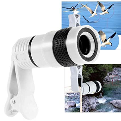 FidgetFidget Lens 12x Optical Zoom Lens Telescope Telephoto Camera Clip on White Motorola Moto X/G
