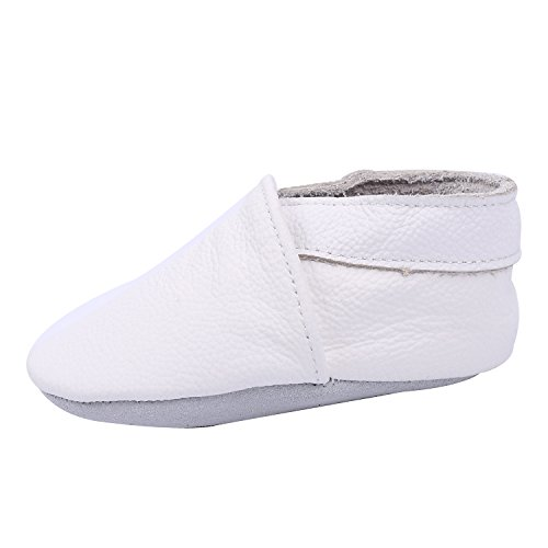 KOSHINE First Walker Leather Baby Shoes With Soft Soles Toddler Moccasins For Boys Girls 0-6-12-18-24 Months (6.5~7 M US Toddler (5.5in/12-18Mo.), (Love White Soft Sole Shoes)