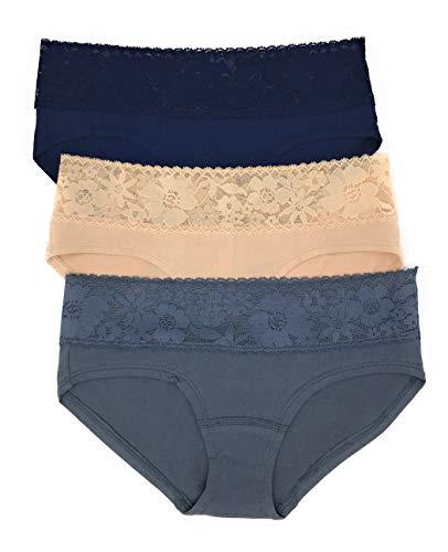 (Victoria's Secret Lace Waist Hiphugger Panty Set of 3 Medium Navy/Nude/Dark Gray)
