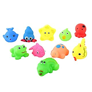 10Pcs Various Kids Bath Toy, Lovely Silicone Animal Shaped Float Pool Game Educational Toy Funny Gift for Toddlers