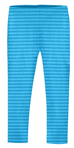 City Threads Girls' Leggings Cotton/Poly Blend for School or Play Perfect for Sensitive Skin or SPD Sensory Friendly Clothing, Stripe Turquoise, 6