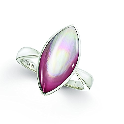 Kabana Sterling Silver Pink Mother of Pearl Marquise Shaped Ring
