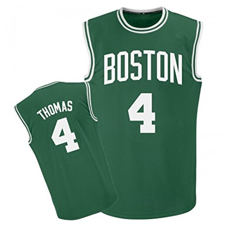 Basketball Costume Design (Mens Basketball Sports Embroidery Jersey Thomas #4 Green)