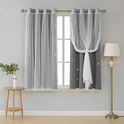 Deconovo Mix and Match Curtain Set 2-Piece Silver Raindrops Foil Print Grommet Blackout Curtains Grey and 2-Piece White Voile Sheer for Bedroom with Grommet Top