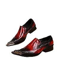 US Size 5-12 Vintage Slip On Wine Red Leather Steel Toe Mens Dress Loafer Shoes