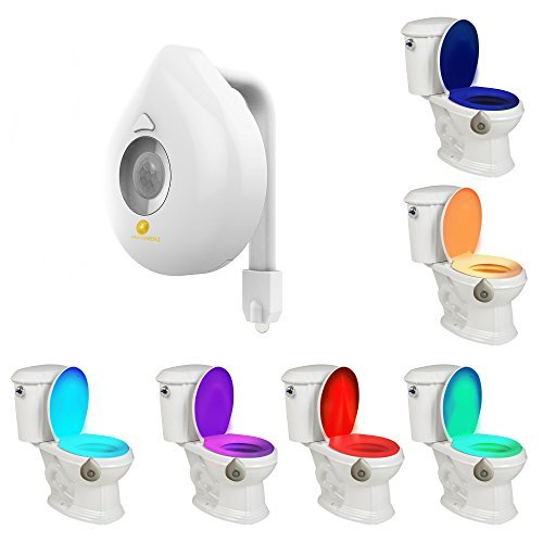 Toilet Light, Industrial Quality 8-Color Changing Body Sensor Motion Activated LED Toilet Bowl Night Light with Customizable Light Modes for Washroom, Bathroom