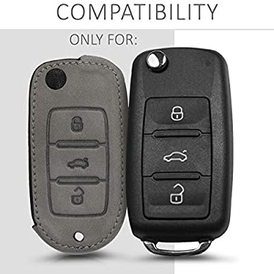 kwmobile Car Key Cover Compatible with VW Skoda Seat VW Skoda SEAT 3 Button Car Key - Synthetic Nubuck Leather Fob Cover - Grey: Automotive