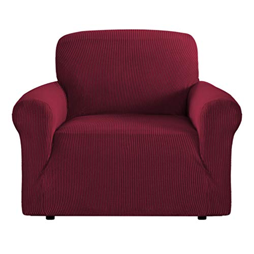 Sofa Cover for Moving Stretch Sofa Slipcover 1 Piece Furniture Covers for Chair Non Skid Sofa Cover Red for Living Room Sofa Slip Cover T Cushion for Leather (Chair: Burgundy Red)