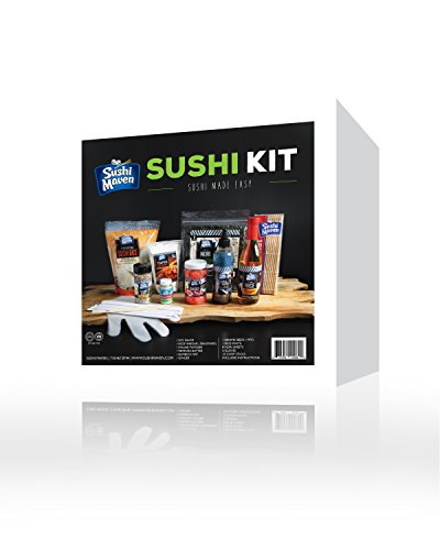 (Sushi Kit- DIY Sushi Making Kit- At Home Japanese Roll Maker Set- Learn to Make Sushi Set- With Bamboo Mat Included- For 16 Assorted Rolls- Perfect Gift)