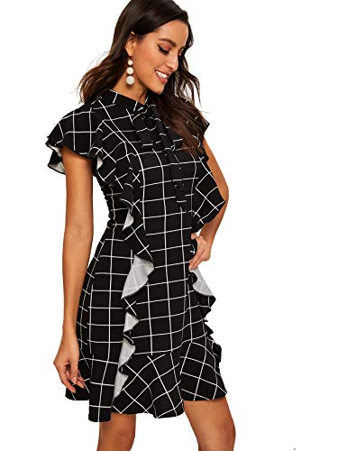 Floerns Women's Tie Neck Ruffle Hem Plaid Dress Black-2 L