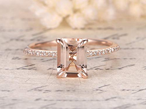 (1.25 Carat Antique Design emerald cut Morganite and Diamond Engagement Ring for Women In Rose Gold)