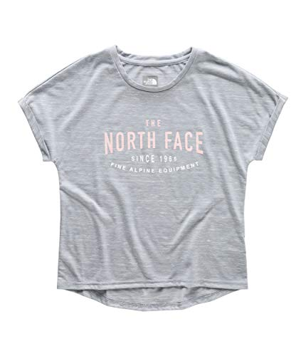 (The North Face Kids Girl's Long and Short of It Tee (Little Kids/Big Kids) Mid Grey Heather Medium)