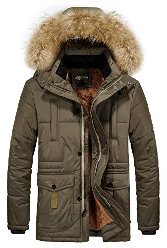 (RongYue Men's Winter Thicken Coat Faux Fur Lined Quilted Jacket with Removable Fur Hood, Brown,)