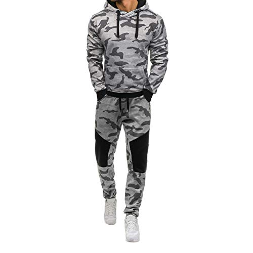 - Londony Vertical Sport Men's 2 Piece Camo Hoodied Sweatshirt & Pants Slim Fit Jogging Track Suit (L, A_Gray)