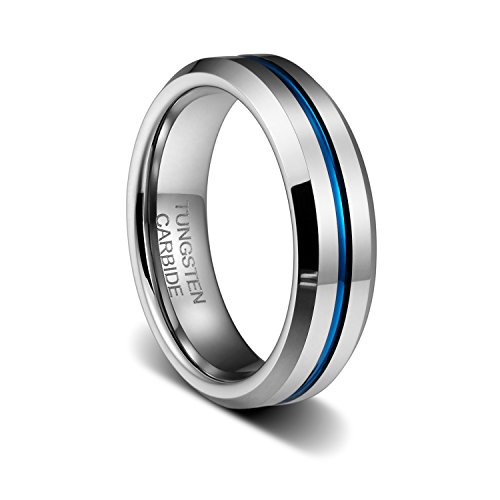 TUSEN JEWELRY 6MM Thin Blue Line Plated Groove Tungsten Carbide Ring Wedding Band